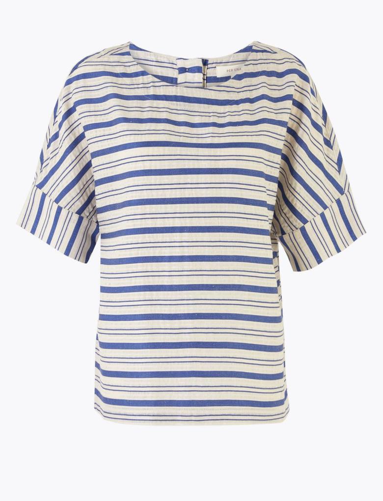 Mavi Kısa Kollu Çizgili Bluz