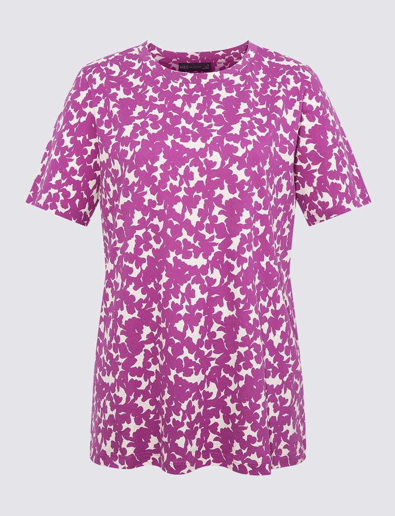 Kadın Pembe Kısa Kollu Straight Fit T-Shirt