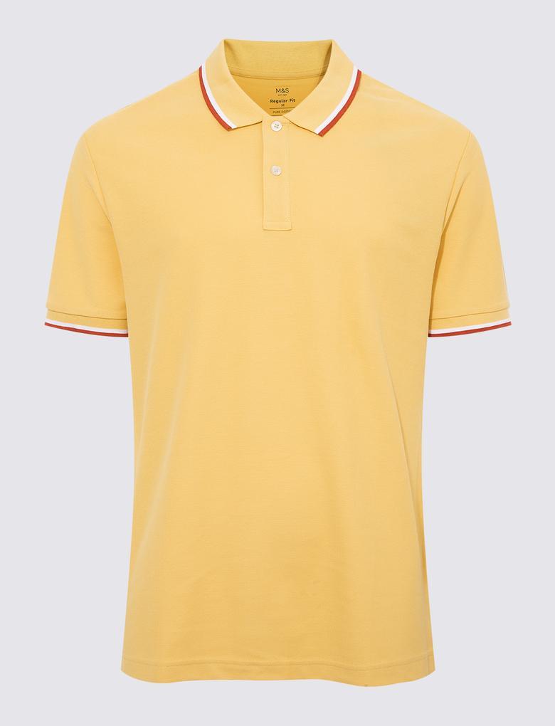 Erkek Sarı Kısa Kollu Polo Yaka T-Shirt