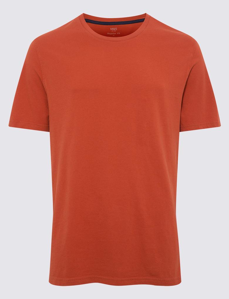 Turuncu Saf Pamuklu Yuvarlak Yaka T-shirt