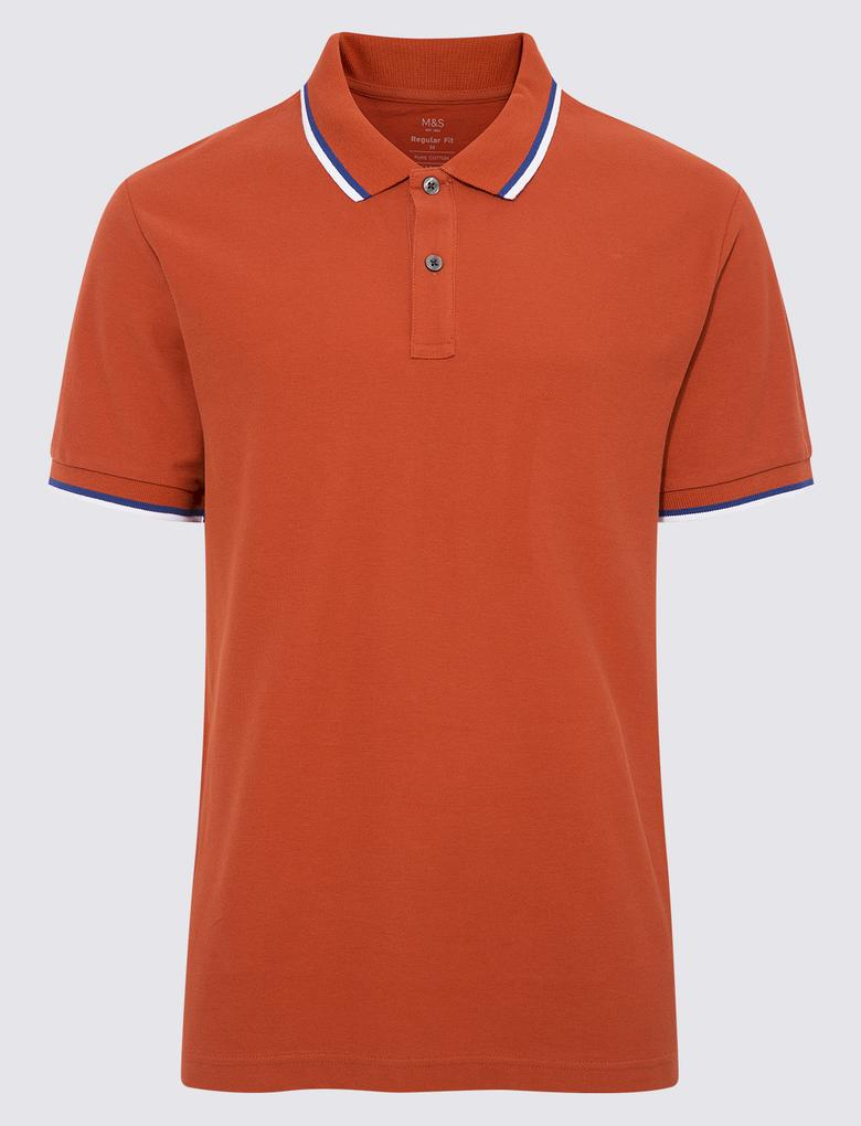 Turuncu Kısa Kollu Polo Yaka T-Shirt