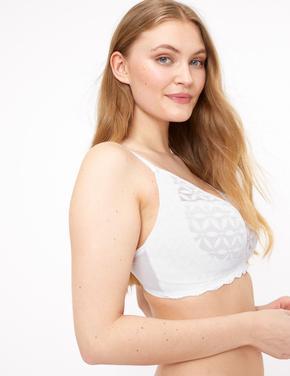 Kadın Beyaz Dantelli Desteksiz Bralet