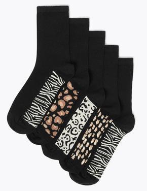 Kadın Siyah 5'li Ankle Çorap Seti
