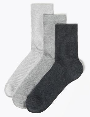 Kadın Gri 3'lü Ankle Çorap Seti
