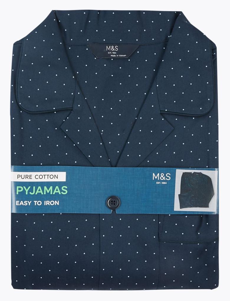 Erkek Lacivert Saf Pamuklu Pijama Takımı