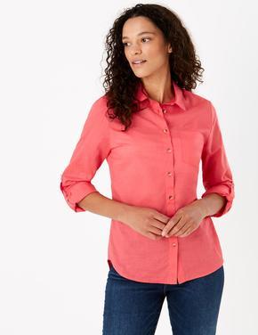 Kadın Kırmızı Saf Pamuklu Relaxed Gömlek