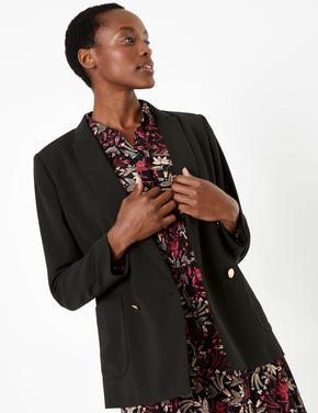 Kadın Siyah Çift Düğmeli Blazer Ceket
