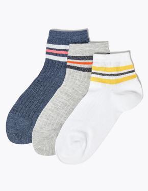Kadın Beyaz 3'lü Soket Çorap Seti
