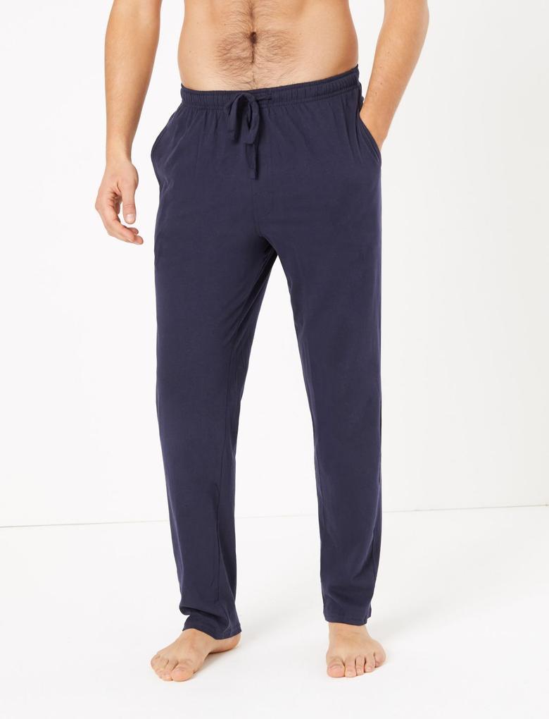 Erkek Lacivert 2'li Saf Pamuklu Pijama Altı Seti