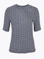Kadın Beyaz Desenli Kısa Kollu Bluz