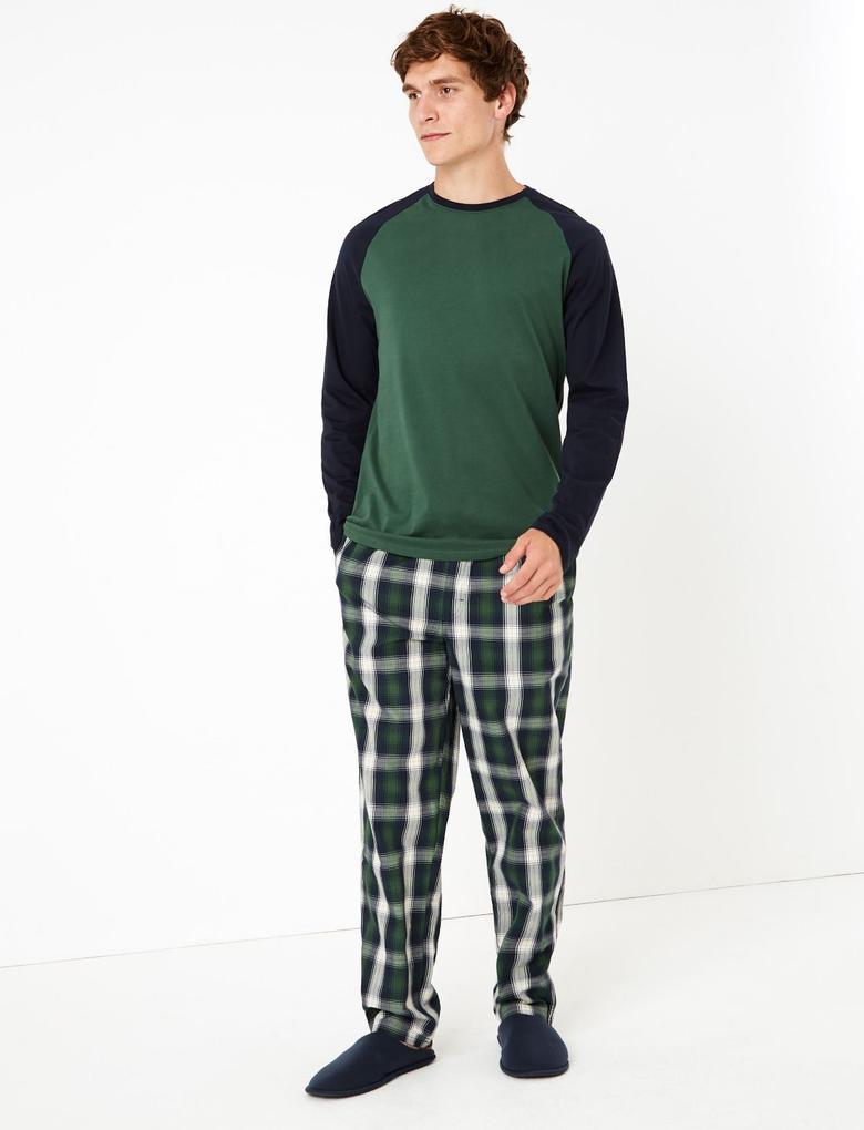 Erkek Yeşil Ekose Pijama Takımı