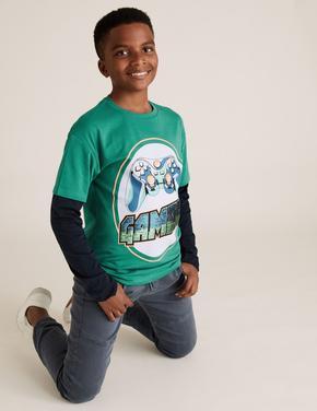 Erkek Çocuk Mavi Uzun Kollu Gamer T-Shirt