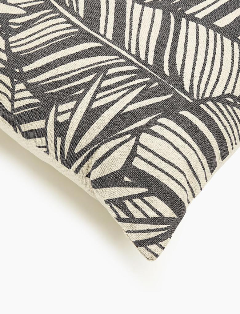 Ev Siyah Palmiye Desenli Yastık