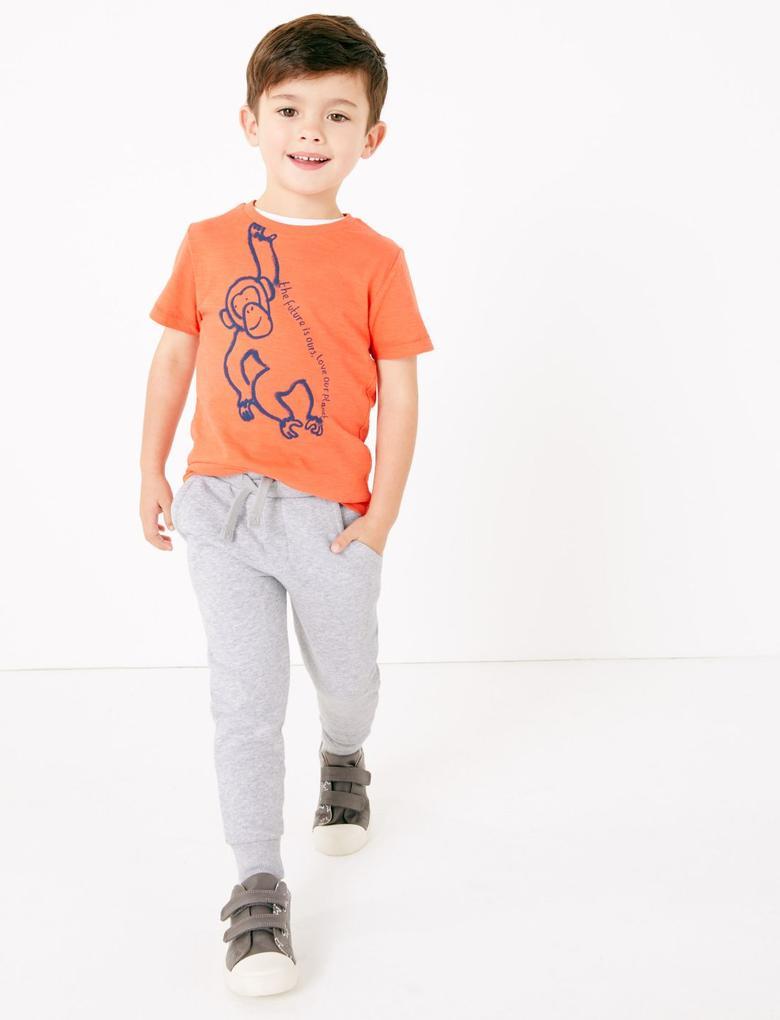 Erkek Çocuk Gri Pamuklu Eşofman Altı
