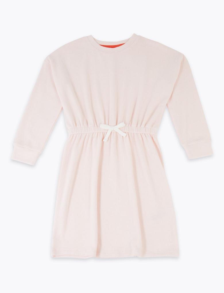 Kız Çocuk Pembe Yumuşak Dokulu Elbise