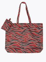 Kadın Bordo Desenli Shopper Çanta