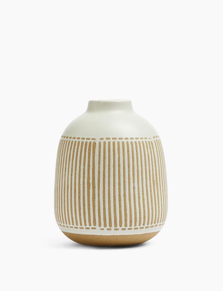 Ev Krem Çizgi Detaylı Vazo