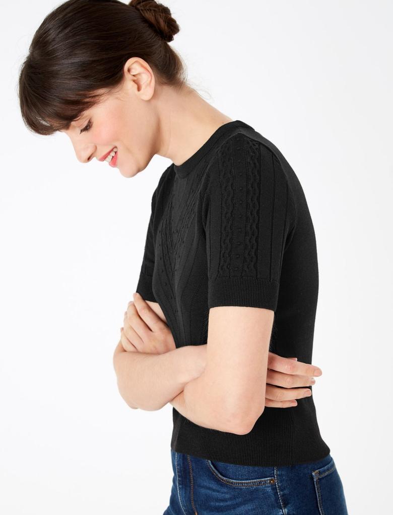Kadın Siyah Kısa Kollu Triko Bluz