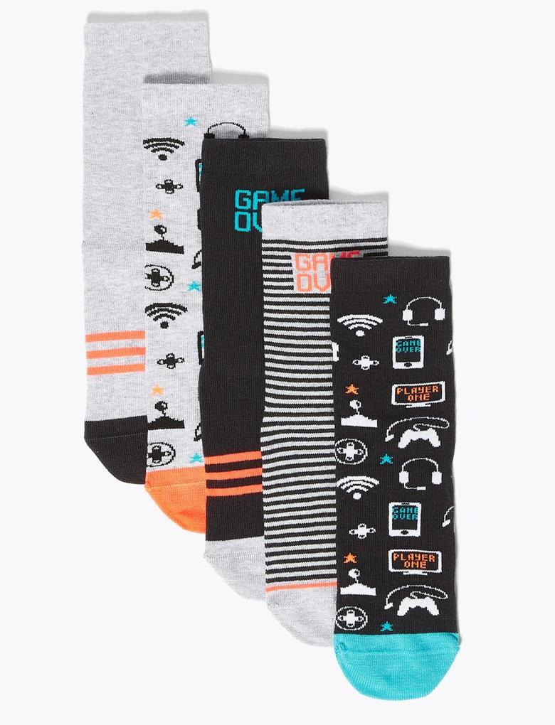 Çocuk Siyah 5'li Pamuklu Çorap Seti