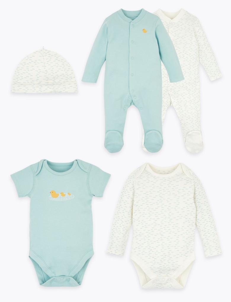 Bebek Mavi 5'li Organik Pamuklu Bebek Seti