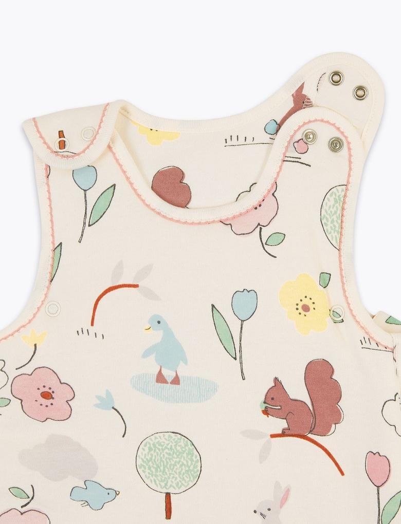 Bebek Pembe Saf Pamuklu 2.5 Tog Desenli Uyku Tulumu