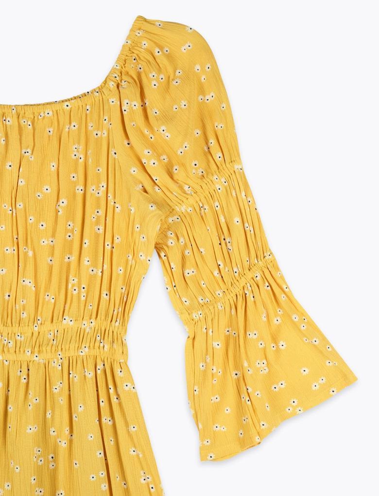 Kız Çocuk Sarı Çiçek Desenli Elbise