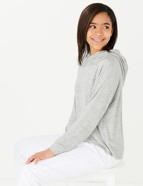 Kız Çocuk Gri Kapüşonlu Sweatshirt