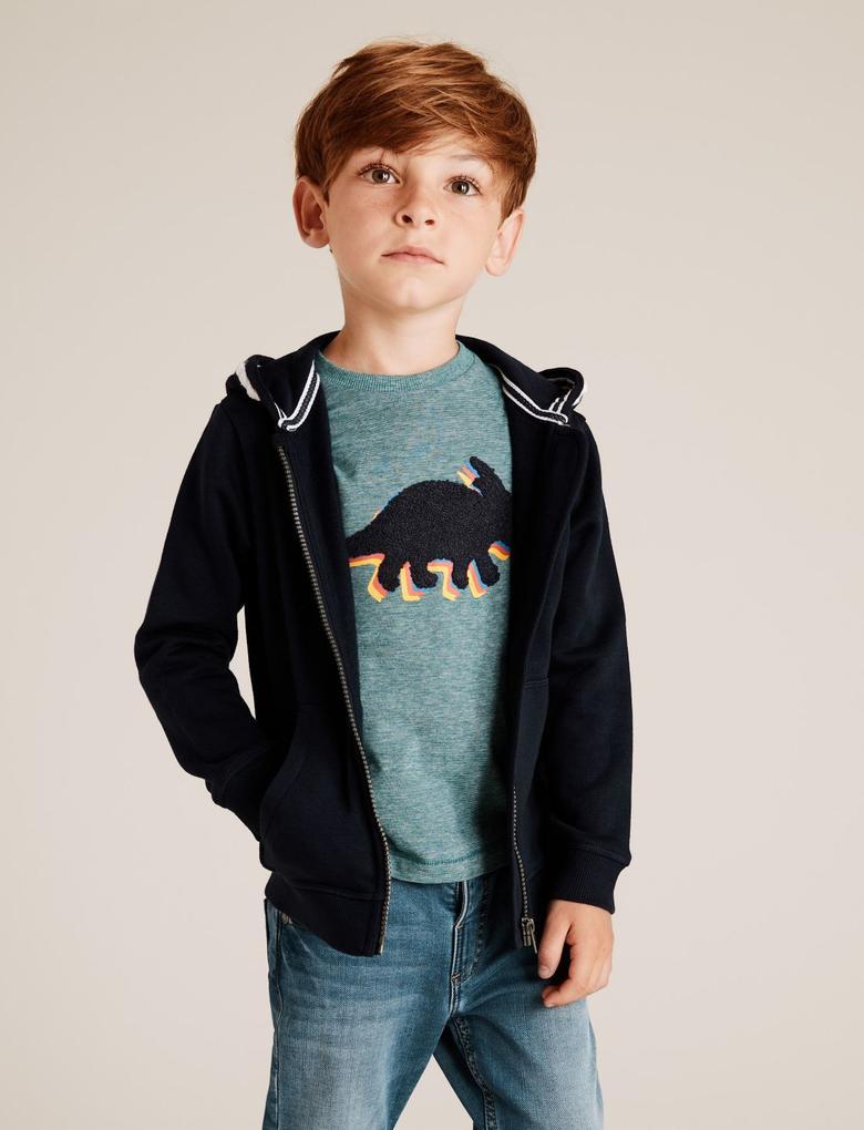 Erkek Çocuk Lacivert Kapüşonlu Sweatshirt