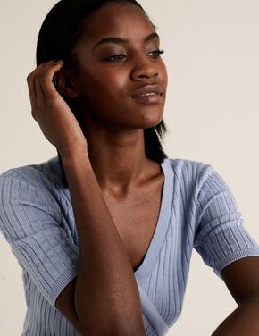 Kadın Mavi Triko V Yaka Bluz