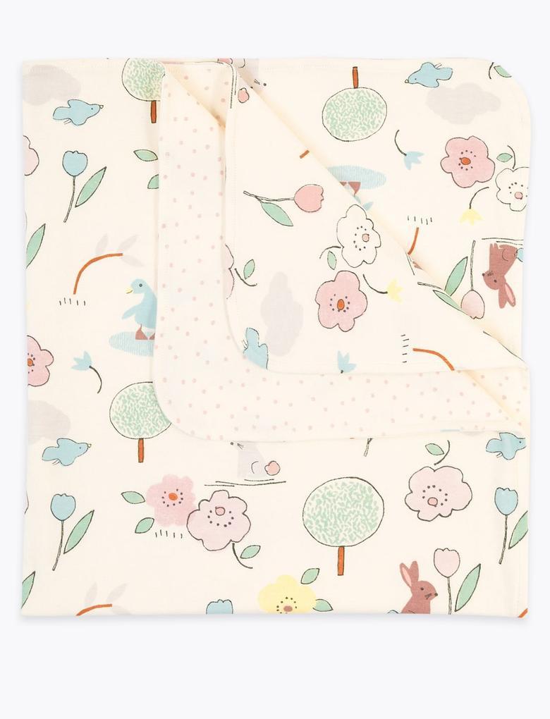 Bebek Multi Renk Saf Pamuklu Desenli Battaniye