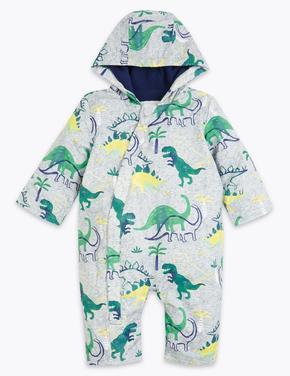 Bebek Mavi Dinozor Desenli Kapüşonlu Tulum Mont