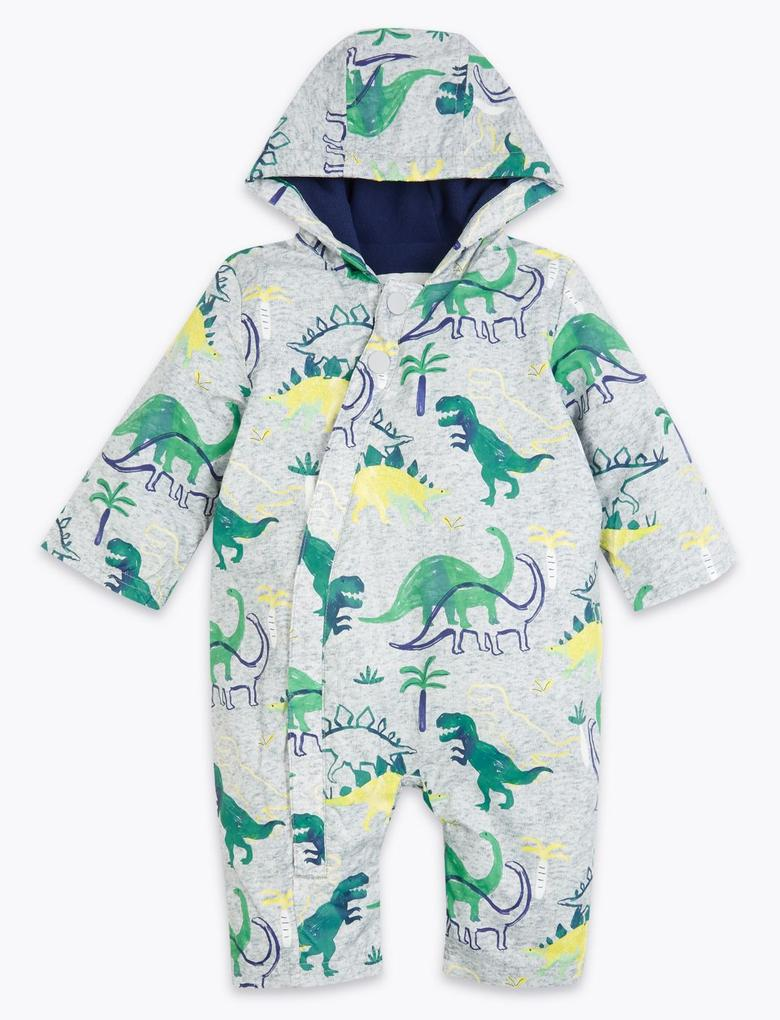 Bebek Mavi Dinazor Desenli Kapüşonlu Tulum Mont