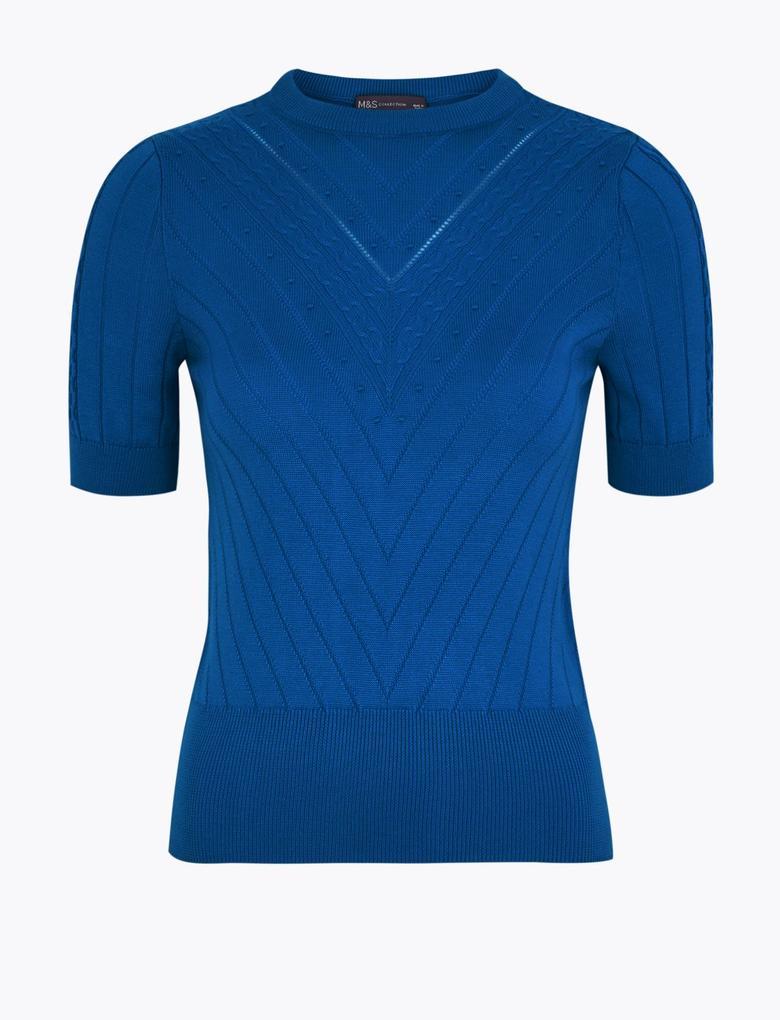 Kadın Mavi Kısa Kollu Triko Bluz