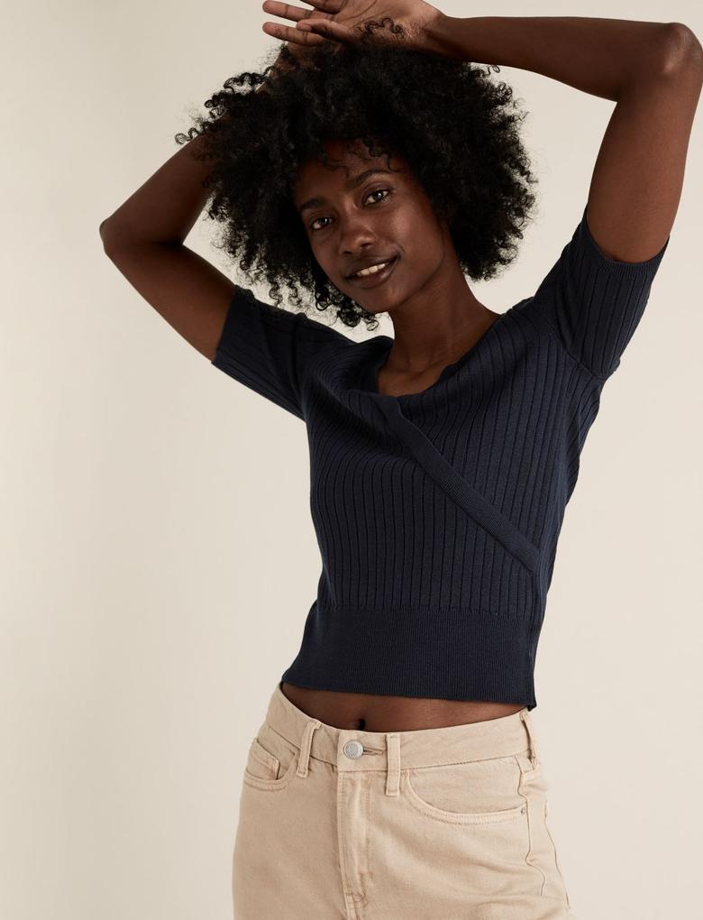 Kadın Lacivert Triko V Yaka Bluz