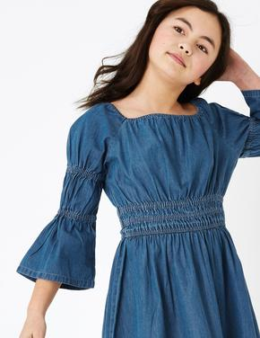 Kız Çocuk Mavi Saf Pamuklu Denim Elbse