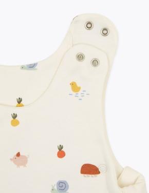 Bebek Beyaz Organik Pamuklu 2.5 Tog Desenli Uyku Tulumu