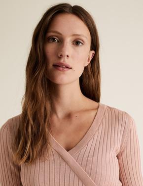 Kadın Pembe Triko V Yaka Bluz
