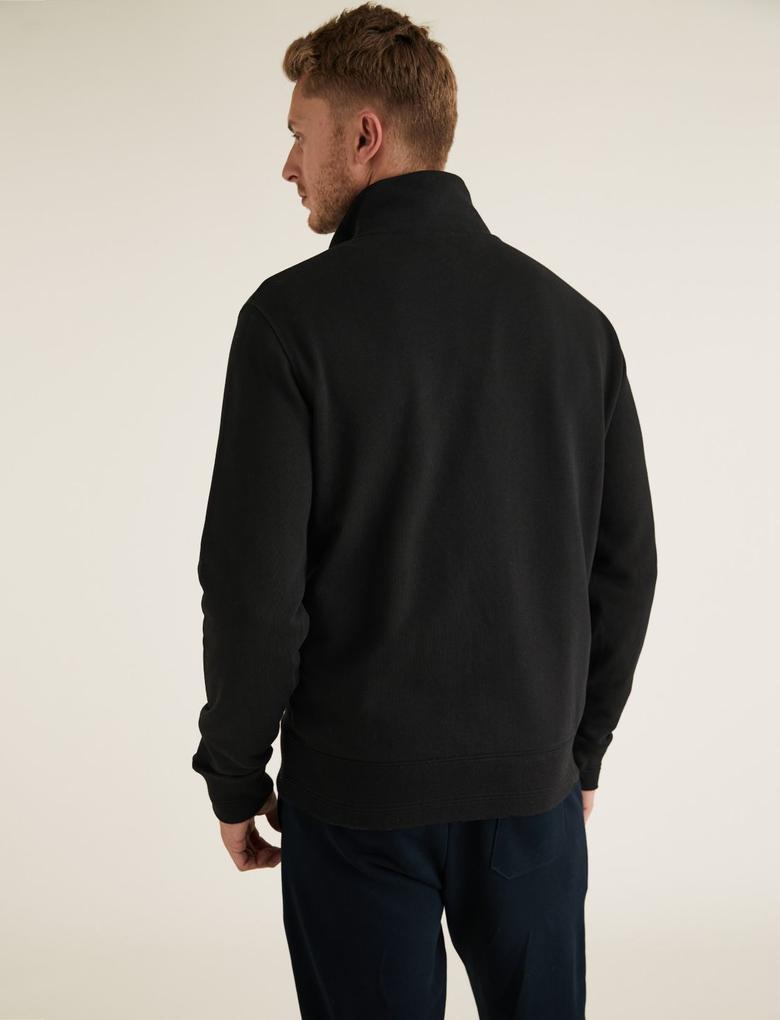 Siyah Saf Pamuklu Sweatshirt