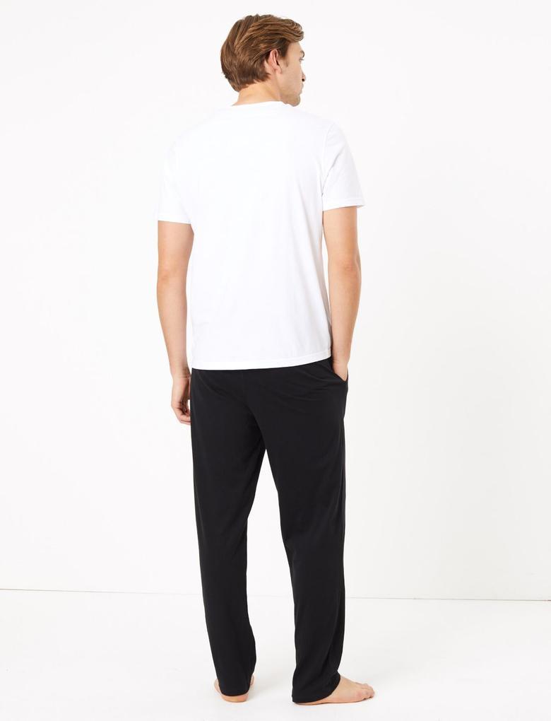 Erkek Siyah 2'li Saf Pamuklu Pijama Altı Seti