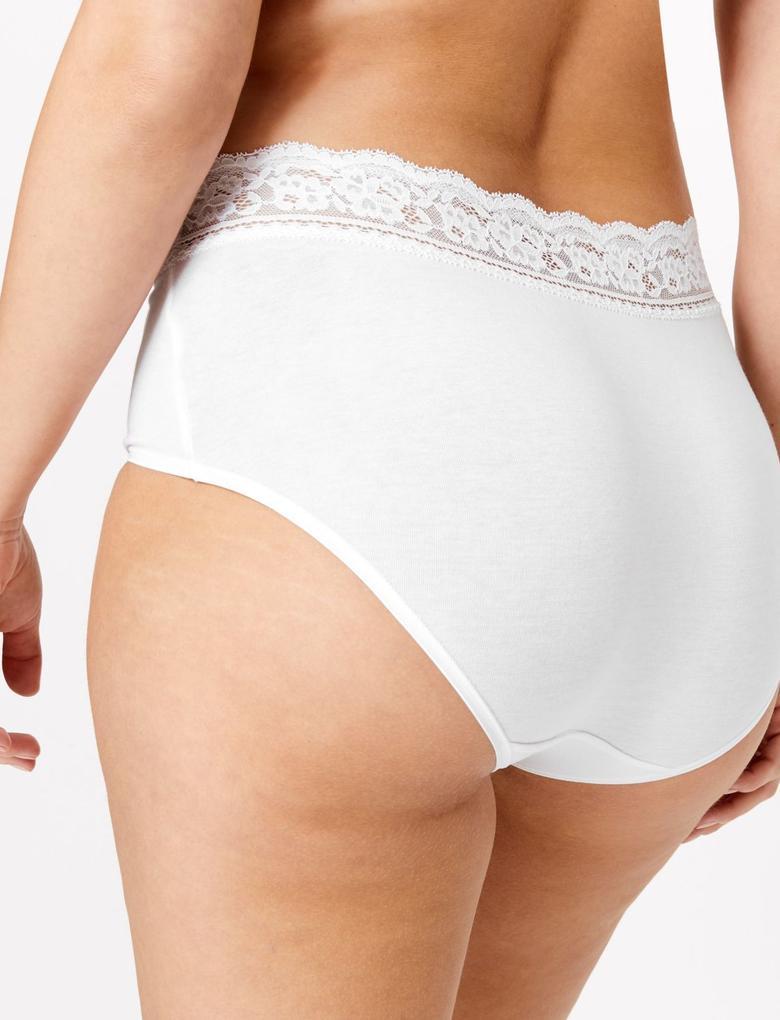 Kadın Beyaz 5'li Lycra® Full Brief Külot Seti