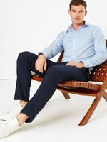 Erkek Mavi Ütü Gerektirmeyen Slim Fit Gömlek