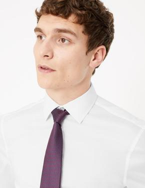 Erkek Beyaz Pamuklu Slim Fit Gömlek