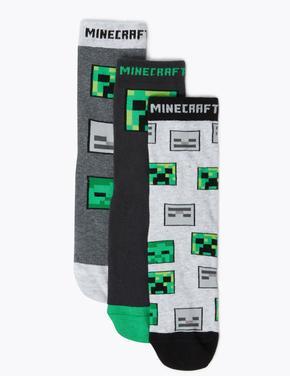 Çocuk Yeşil 3'lü Minecraft™ Çorap Seti