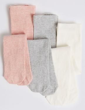 Çocuk Multi Renk 3'lü Pamuklu Külotlu Çorap Seti