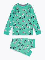 Çocuk Yeşil Pamuklu Kedi Desenli Pijama Takımı