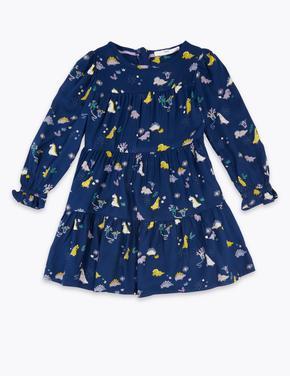Kız Çocuk Lacivert Dinozor Desenli Elbise