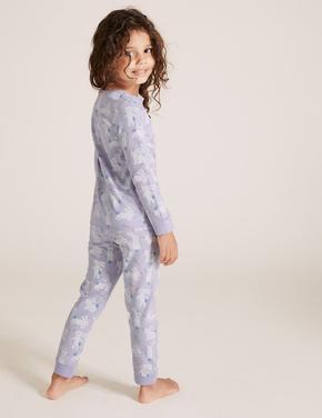 Çocuk Mor Pamuklu Tavşan Desenli Pijama Takımı