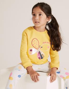 Kız Çocuk Sarı Pamuklu Kelebek Desenli Sweatshirt