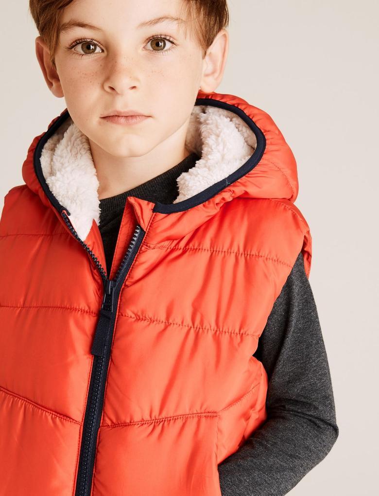 Erkek Çocuk Turuncu Sentetik Kürklü Yelek