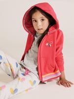 Kız Çocuk Kırmızı Kelebek İşlemeli Kapüşonlu Sweatshirt